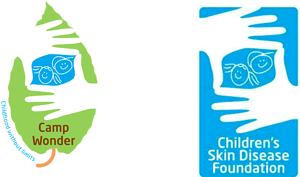 Logos for Camp Wonder and Children's Skin Disease Foundation